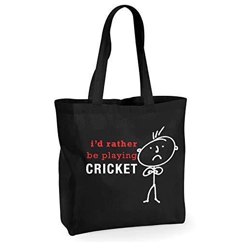 60 Second Makeover Limited Homme I'd plutôt être jouer Cricket Coton Noir de qualité Sac shopping Cabas réutilisable Mari Dad Oncle grand-père anniversaire Noël Saint Valentin Cadeau