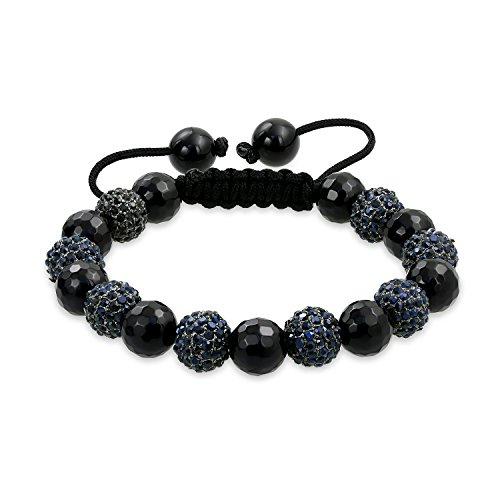 Schwarz Facettierte Onyx Pave Kristall Shamballa Inspiriert Armband Für Frauen Für Männer Schwarze Schnur String Verstellbar