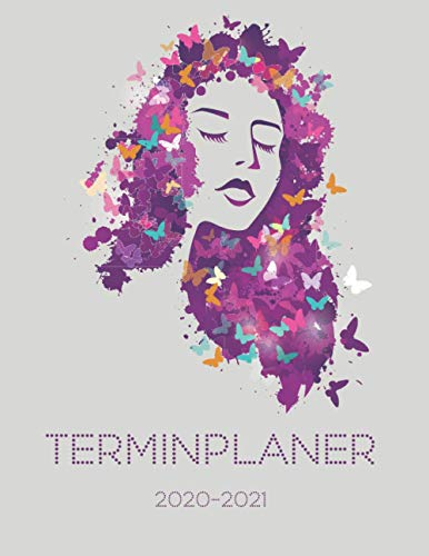 Terminplaner 2020-2021: Kosmetik Terminbuch | 12 Monate DATEN Kalender | Tages- & Stundenplaner | 8AM - 8PM | Inklusive Alphabetisches Kundenbuch | Butterfly Woman Design