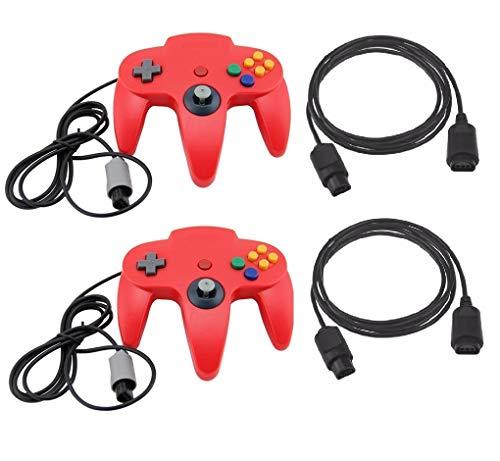 DARLINGTON & Sohns 2 Rote Controller für Nintendo 64 N64 Joystick Rot Gamepad Joypad + Verlängerung Extansion Verlängerungskabel Gamepad