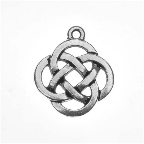 TierraCast Fine Silver Plated Pewter Celtic Knot Open Pendant Charm 20mm (1)