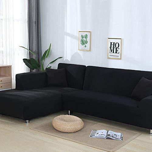 Funda de sofá, Funda de sofá Suave y elástica de Moda, Funda de sillón en Forma de L para Sala de Estar, Funda Protectora Completa,Black,2-Seater,145-185cm