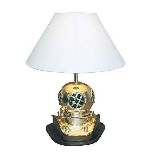 linoows Taucherhelm Lampe, Maritime Tischlampe mit Historischem Taucherhelm 45 cm