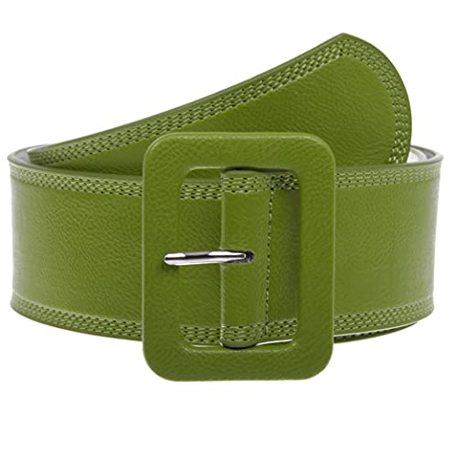 Women's 2 1/4' Wide High Waist Rectangular Stitch-edged Leather Belt, Olive Green | M/L-36'