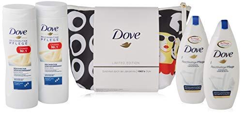 Dove Geschenkset Reichhaltige Pflege mit Kosmetiktasche (2x Duschgel 250 ml & 2x Bodylotion 400 ml), 1300 ml