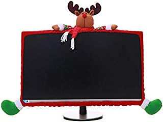 PartyYeah Christmas Computer Monitor Cover, Elastic Xmas Decorations Reindeer Computer Monitor Border Cover, Elastic Laptop Computer Cover for Xmas Home Office Decor and New Year Gift Ideas