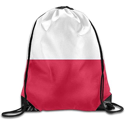Yuanmeiju Shopping Shoulder Bag,Travel Sackpack,Gym Drawstring Backpack,Lightweight Bolsa de cordón para Dibujar,Flag of Poland Personalized Yoga Rucksack,String Storage Bag,Sport Cinch Pack