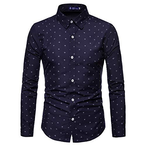 AOWOFS Herren Hemd Langarm Regular Fit Freizeithemd aus Baumwolle mit Anker-Muster