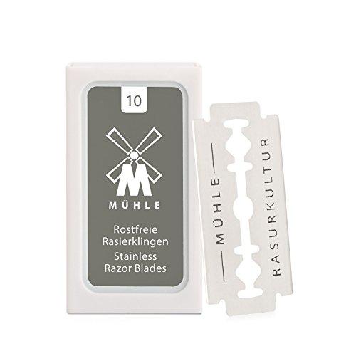 MÜHLE 10er Pack Rasierklingen für alle gängigen Modelle der Sicherheitsrasierer und Rasierhobel - rostfreier Stahl