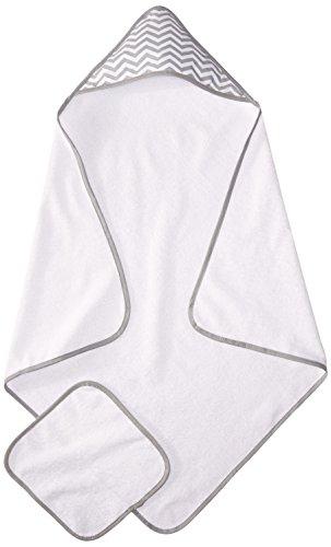 American Baby Company, Lot de serviettes de toilette avec capuche en coton organique, Blanc zébré en gris, Pour nourrissons, bébés et enfants.