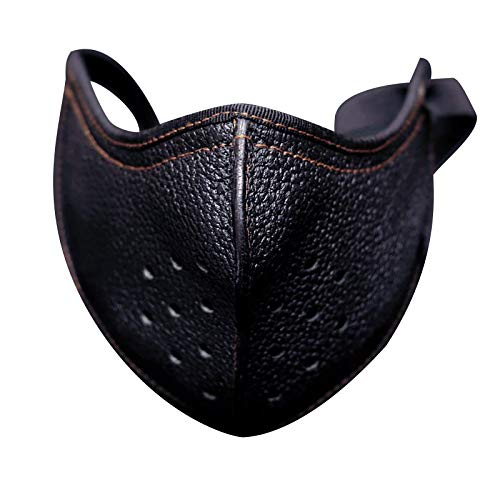 1/2 PC Punk Leather Motorcycle Biker Half Anti-Dust Sport Breathable Face_Mask for Adult, Unisex Cloth Washable Reusable Protection Cloth Face Covering Comfortable Bandanas for Man Woman (1 PC, Black)