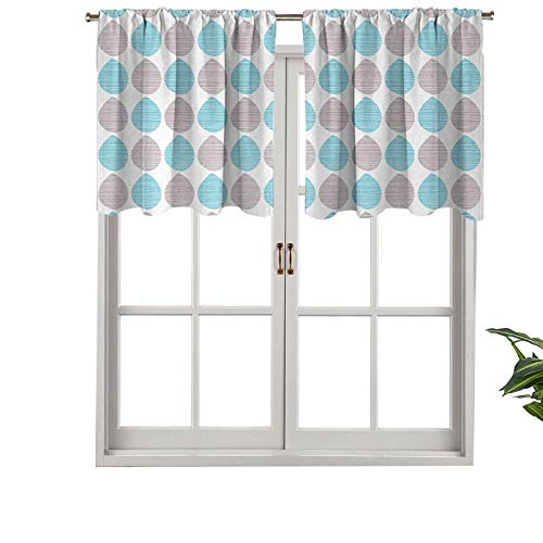 Hiiiman Rod Pocket Valance Hand Drawn Abstract Nature Foliage Leaves Pattern Sketchy Stripes, Set of 2, 54'x36' for Kitchen Bathroom Cafe