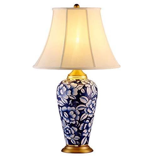 Lampe de bureau Lampe de table en céramique Salon Décoration Chambre Chambre Table de chevet Lumière Abat-jour Tissu Européen Base En Cuivre Décoration Grand