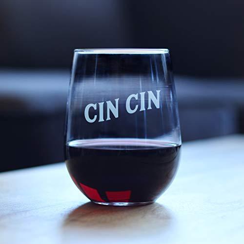 CIN CIN Italian Cheers - Copa de vino con texto en inglés 'Cheers' (15 onzas)
