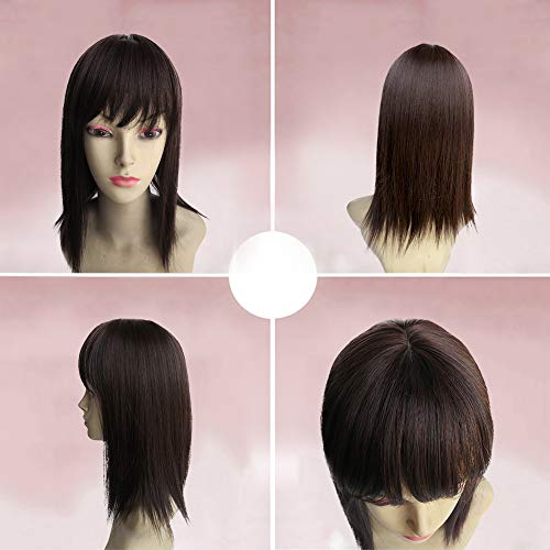 BESTLEE 14 Synthetic Hair Mono Hair Topper for Hair Loss Clip in Hair Top Piece with Air Bangs (Thick Style, Dark Brown)