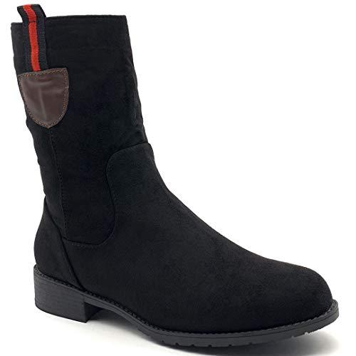 Angkorly Kavalier - Damesschoenen laarzen - nochters - biker - paardrijlaarzen - Basic blokhak 4 cm