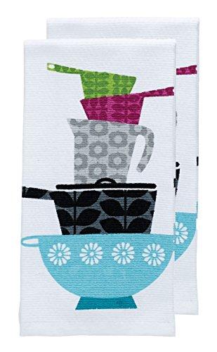 T-fal Textiles Veggie impresión Doble Cara Tejido Weave algodón Toalla de Cocina Plato, Blanco, Paquete de 2