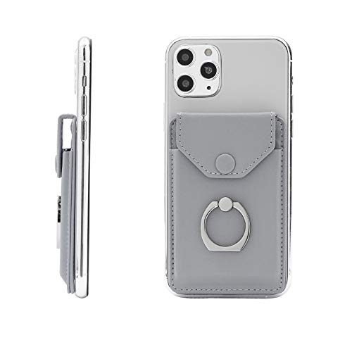 YUNCE Cell Phone Card Holder RFID Ring Stand Stick on Wallet Card Holder for Back of Phone for iPhone Android and All Smartphones Adhesive Credit Card Holder for Cell Phone-Light Grey