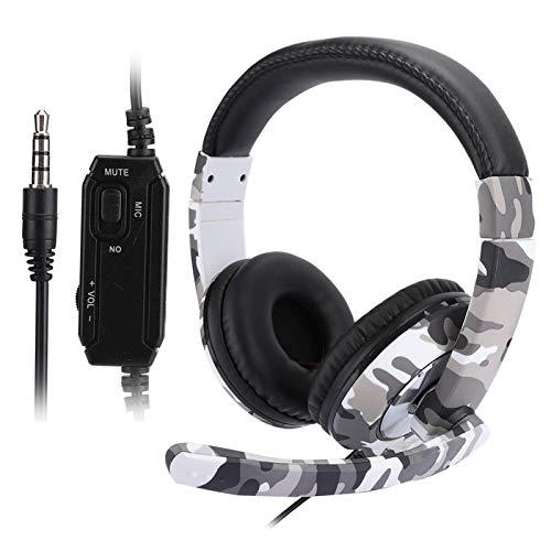 Mothinessto Gaming Kopfhörer Headset, Weiß Camouflage Audio Controller Gaming Headset Überlegener Komfort Isolieren Außengeräusche mit ergonomischem Design für für PC