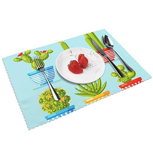 Manteles Individuales Macetas Cactus Azul Aloe, Mantel Individual Antideslizante Resistente Al Calor Salvamanteles Juego De 4 para La Mesa De Comedor De Cocina, 45x30 Cm