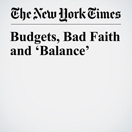 Budgets, Bad Faith and 'Balance' copertina
