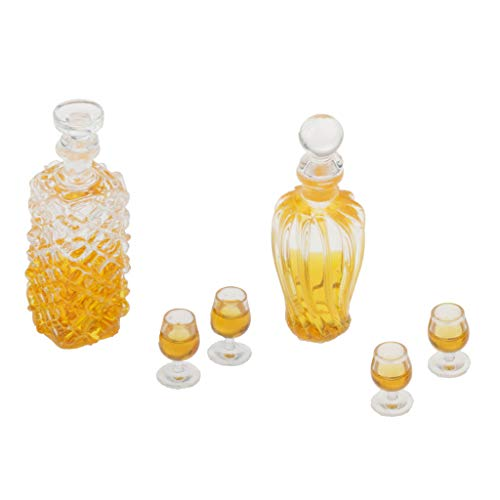 perfeclan Miniaturas De Casa De Muñecas A Escala 1:12 Botellas De Vino De Vidrio Y Copas De Vino Juego De Decoración De Mesa De Cocina Accesorio