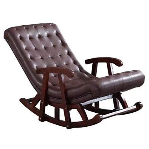 SHUILV Silla Mecedora de Cuero Simple, Madera Maciza con Asiento Sofá salón Silla Siesta sillón Simple (Color: Marrón)