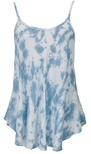 Guru-Shop Luftiges Batiktop, Sommertop, Boho Top, Damen, Blau, Synthetisch, Size:38, Tops & T-Shirts Alternative Bekleidung