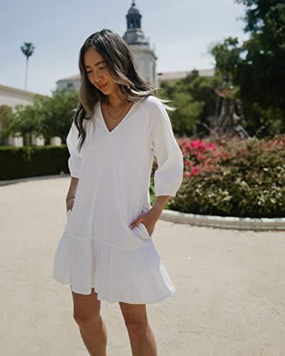 The Drop Women's Bright White Balloon-Sleeve Tiered Mini Dress by @spreadfashion