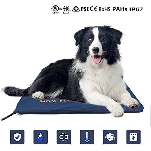 Langyinh Hond Elektrische verwarmingsmat, waterdicht, met anti-bijt, thermostaat, kabel, kat met veiligheidspad, 19,6 x 19,6 inch