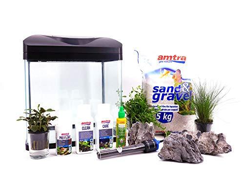 Nano Aquarium Laguna schwarz inklusive Dekoration Komplettaquarium Pflanzen Heizung Beleuchtung Nanoaquarium Komplett