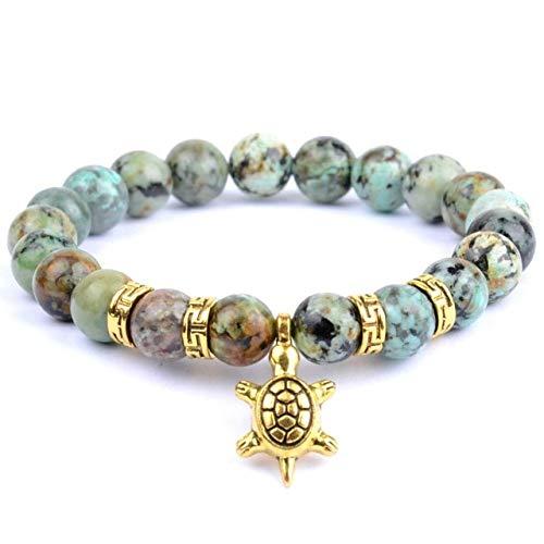 Boho Tortue Animaux Bracelets de Charme Femmes Pierre Naturelle Oeil de Tigre Perles Bracelet Bracelets 21 cm Afrique Turquoise