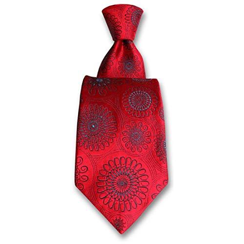 Robert Charles. Cravate. Astoria, Soie. Rouge, Paisley. Fabriqué en Italie.
