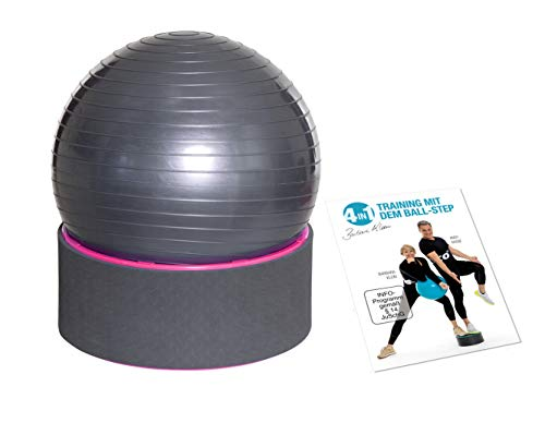 FLEXI-SPORTS® Gymnastikball 4in1 Step & Ball Multifunktionales Trainingsgerät inkl. Trainings-DVD und Ballpumpe Fitness Step Sitzball Pilates Yoga Ball Balance Stuhl (Pink)