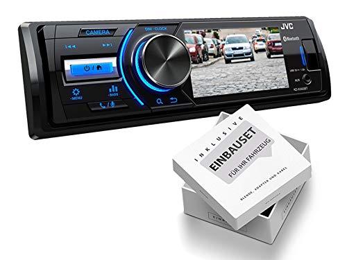 JVC KDX560BT 1-DIN Media Receiver Farbdisplay für Rückfahrkamera für Peugeot 206 + 206 CC 1998-2007 schwarz