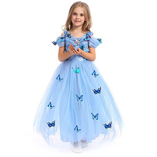 URAQT Princesa Traje del Vestido, Traje de Princesa Azul con Mariposas Vestido Infantil Disfraz de Princesa de Niñas para Fiesta Carnaval Cumpleaños Cosplay Halloween (120)
