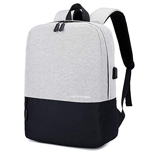 College Backpack, Travel Laptop Backpack for Men Women Bookbag for Boy Girl-Grey and Black