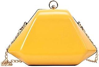 SODIAL Geometric Box Pu Leather Shoulder Bag Female Fashion Retro Messenger Bag Ladies Party Chain Wallet Female Handbag White