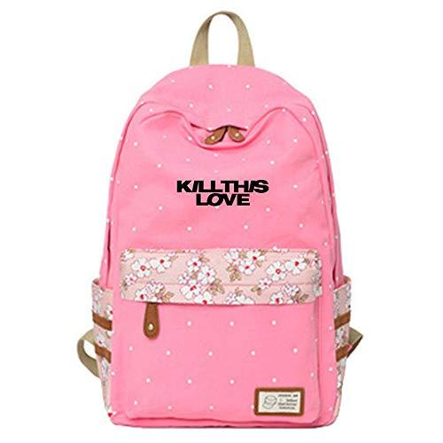 Mochilas Escolares Mochila de Lona Populares Mochilas Impresas Kill This Love Bags para los Fans de Jennie Jisoo Rose Lisa (Color : A01, Size : 30 X 14.5 X 42cm)