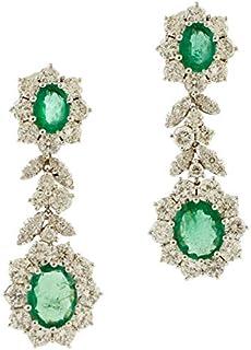 Orecchini Pendenti, Smeraldi e Diamanti, Oro Bianco 18kt