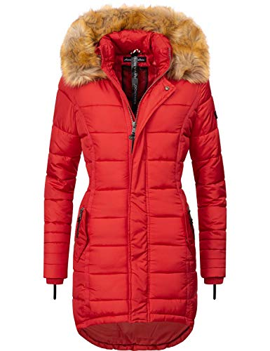 Navahoo Damen Winter Mantel Steppmantel Papaya Rot Gr. S