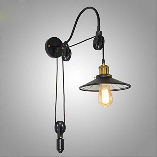 NIHE Vintage Loft Lampe murale en fer antique Lampe rétractable Eclairage muraux Eclairage muraux Bar Cafe Light E27 Applique murale
