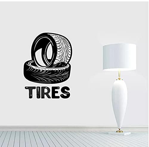 Logotipo de mecánico de automóviles, póster de pared, llantas, pegatina de pared, de reparación de neumáticos de coches, calcomanía de vinilo para pared, decoración de tienda de coches, 57x77cm