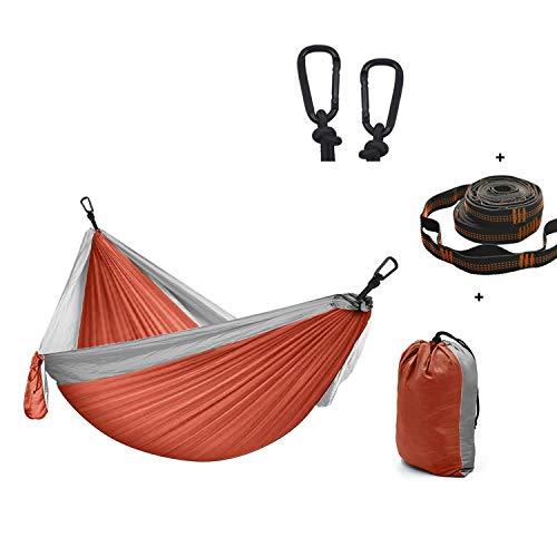 XXJF Hamac Camping Charge 300 Kg, Séchage Rapide Ultraléger, Double Hamac D'extérieur De Camping Ultra-Leger Tissu en Parachute Nylon pour Terrasse, Balcon, Jardin, Extérieur, Camping