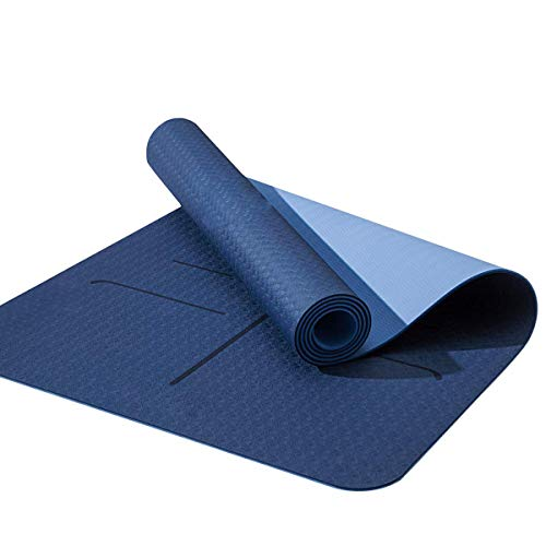 """FOM (Friends of Meditation) Body Alignment Yoga Mat. Lightweight Reversible TPE Yoga Mat with Non Slip Grip Pilates Mats, Tear Resistant, with Yoga Mat Bag, 72""""x 24"""" Thickness 6mm - Blue"""