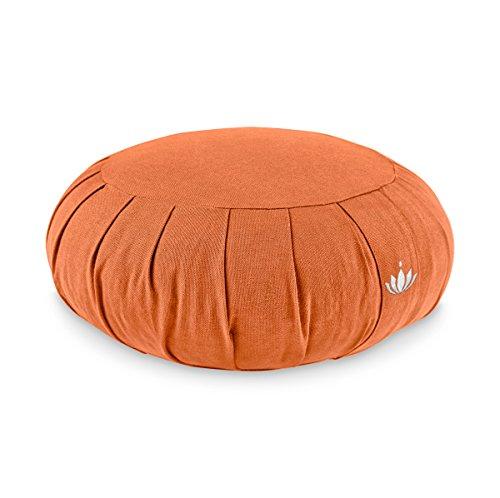 Lotuscrafts Zafu Meditatiekussen Zen Yogakussen - zithoogte 15cm - Yoga Zafu Kussen met speltvulling - wasbare hoes van biologisch katoen - GOTS gecertificeerd - met borduurwerk