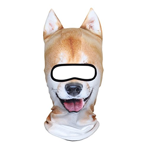 AXBXCX 3D Animal Ears Fleece Thermal Neck Warmer Windproof Hood Cover Face Mask Protection for Ski Snowboard Snowmobile Halloween Winter Cold Weather Funny Shiba Inu MDD-04