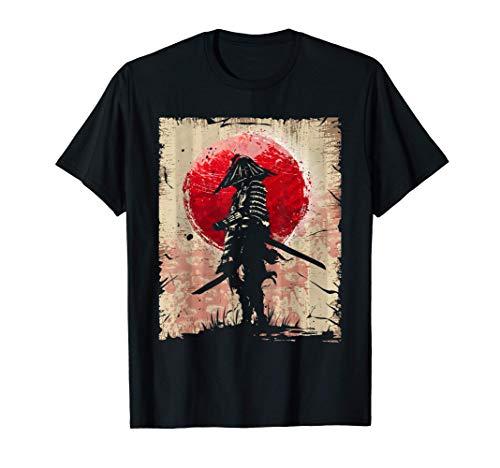Arte giapponese Samurai Vintage Fighter Retro Design Maglietta