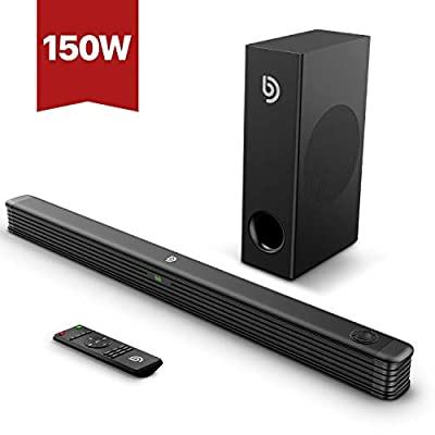 BOMAKER 2.1 Channel Soundbar with Wireless Subwoofer, 150W Soundbar for TV, Deep Bass, 120dB Surround Sound System, Wall Mountable, Optical Input, RCA Cable Included by BOMAKER