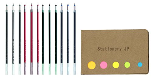 Pilot Acroball Advanced Ink Refill for Dr. Grip 4+1 Multifunction Ballpoint Pen, Extra Fine Point 0.5mm, 4 Color Ink(Black/Blue/Red/Green), 12-pack, Sticky Notes Value Set